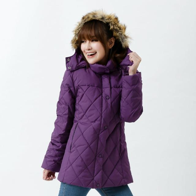 【遊遍天下】顯瘦JIS90%羽絨極暖防風防潑水中長版菱格羽絨外套 深紫(M-2L)