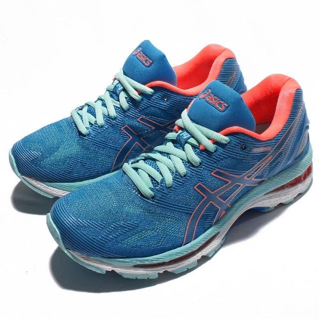 【ASICS】慢跑鞋 Gel-Nimbus 19 運動 女鞋 亞瑟士 低筒 跑鞋 跑步 避震 女 藍 橘 白(T750N4306)