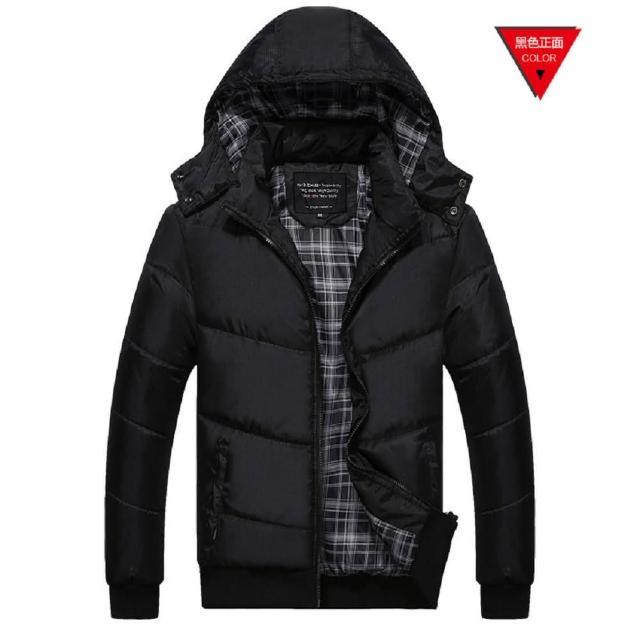 【NBL】J0279BK黑色韓版可拆帽鋪棉加厚外套(棒球領風衣外套)