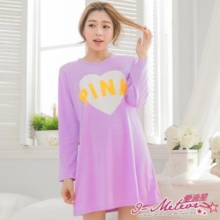 【I-meteor日系】PA3063全尺碼-PINK英字愛心棉質長袖連身裙睡衣(甜蜜紫)