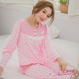【I-meteor日系】PA3072全尺碼-貼布小兔愛心格紋牛奶絲長袖二件式睡衣組(清新粉)