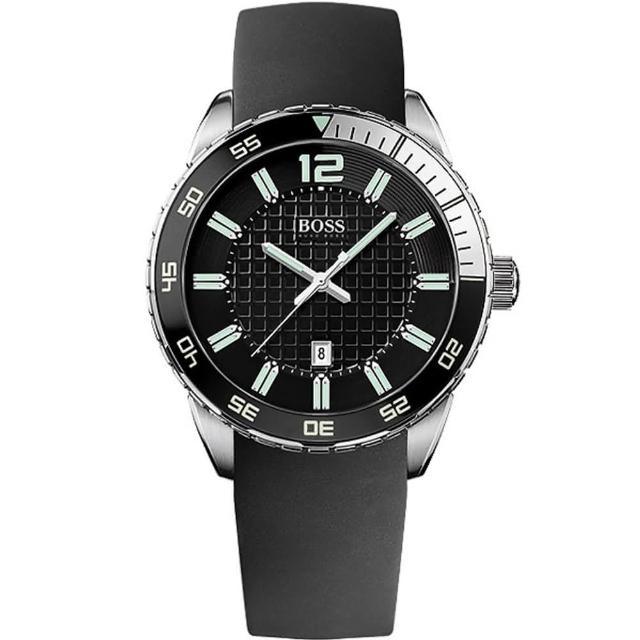 【Hugo Boss Black】衝速狂放運動橡膠腕錶(1512885)