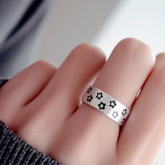 【梨花HaNA】925銀星空下的燦爛中性開口戒指
