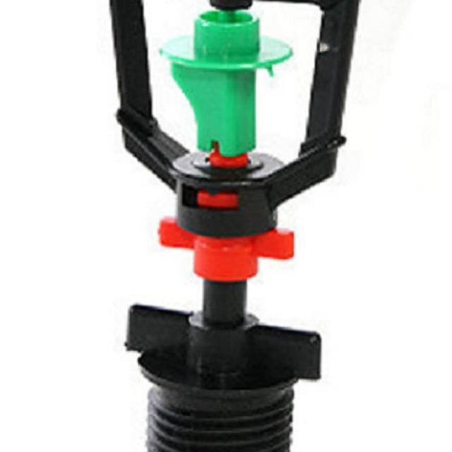 【灑水達人】綠紅色迴轉型360度旋轉噴頭加6分外牙10個一包