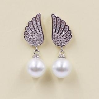 【米蘭精品】耳環流行銀飾品珍珠耳飾(精美天使之翼鑲鑽母親節生日情人節禮物73ag61)