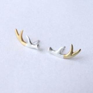 【米蘭精品】耳環流行銀飾品耳針式耳飾(可愛麋鹿角精選母親節生日情人節禮物73ag79)