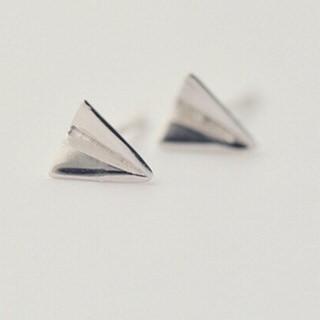 【米蘭精品】耳環流行銀飾品耳針式耳飾(童趣紙飛機流行母親節生日情人節禮物73ag83)