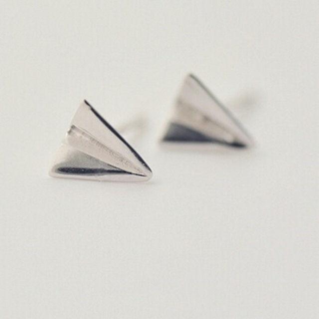 【米蘭精品】耳環流行銀飾品耳針式耳飾(童趣紙飛機聖誕節交換禮物首選73ag83)