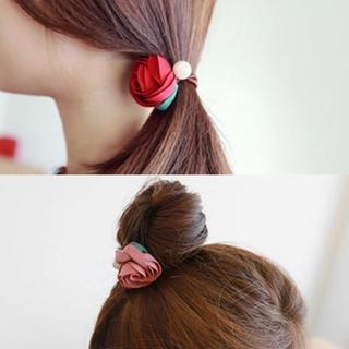 【梨花HaNA】韓國手工緞帶玫瑰花園珍珠捲捲髮圈