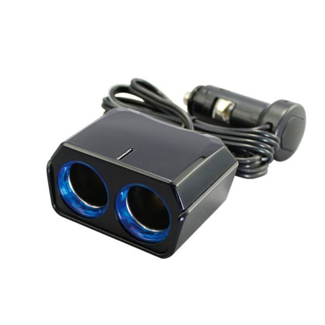 【日本YAC】12V延長線LED冷光雙孔插座PZ-736(汽車|擴充器|充電器)
