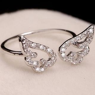 【米蘭精品】戒指鑲鑽流行銀飾品(天使之翼造型時尚唯美流行母親節生日情人節禮物73ae85)