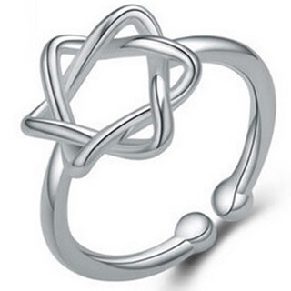 【米蘭精品】戒指流行銀飾品(六芒星造型簡約精緻百搭母親節生日情人節禮物73ae126)