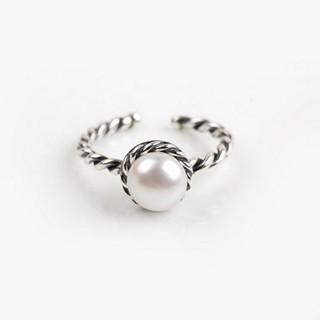 【米蘭精品】戒指珍珠流行銀飾品(麻花造型時尚精緻流行七夕情人節生日禮物73ae163)