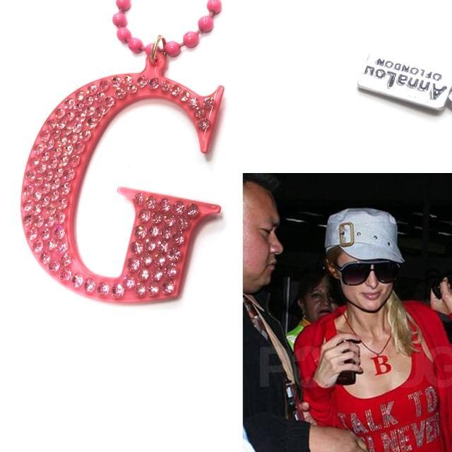 【Anna Lou Of London】倫敦品牌 水晶字母項鍊 G 粉紅色(絕版品 售完不補)