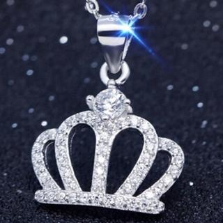 【米蘭精品】鑲鑽項鍊銀飾品(皇冠造型小巧精緻優雅流行母親節生日情人節禮物73y38)