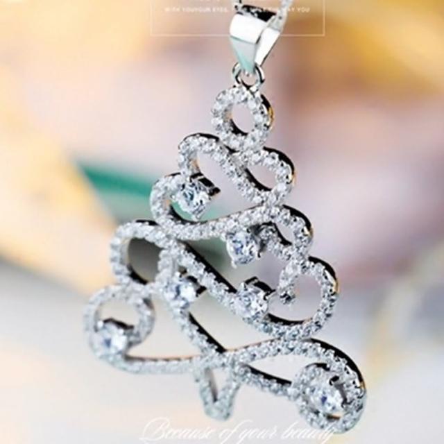 【米蘭精品】鑲鑽項鍊銀飾品(聖誕樹造型韓國時尚百搭母親節生日情人節禮物73y64)