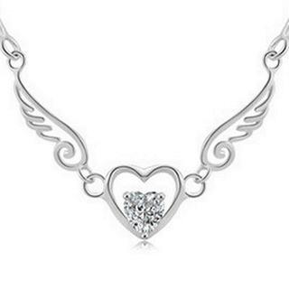 【米蘭精品】鑲鑽項鍊銀飾品(天使之翼造型獨特迷人流行母親節生日情人節禮物2色73y99)