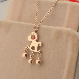 【米蘭精品】玫瑰金項鍊吊墜子(紅瑪瑙可愛小馬流行飾品情人節生日禮物71x59)