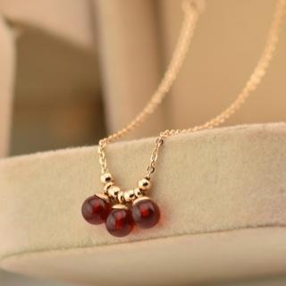 【米蘭精品】玫瑰金項鍊吊墜子(精美紅瑪瑙圓珠流行飾品情人節生日禮物71x73)