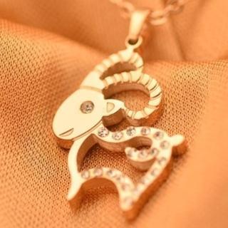 【米蘭精品】玫瑰金鑲鑽項鍊吊墜子(可愛山羊流行飾品情人節生日禮物71x87)