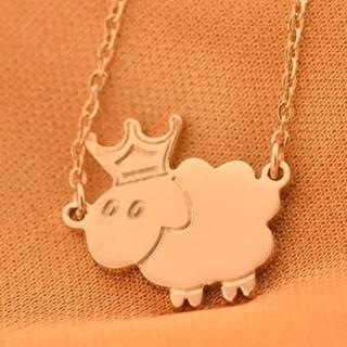 【米蘭精品】玫瑰金項鍊吊墜子(可愛皇冠綿羊流行飾品情人節生日禮物71x92)