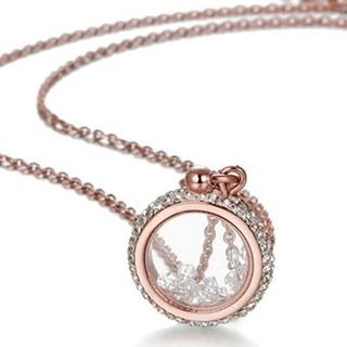 【米蘭精品】玫瑰金鑲鑽項鍊吊墜子(個性時尚流行飾品情人節生日禮物71x100)