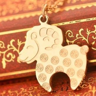 【米蘭精品】玫瑰金項鍊吊墜子(可愛銅錢小羊流行飾品情人節生日禮物71x128)
