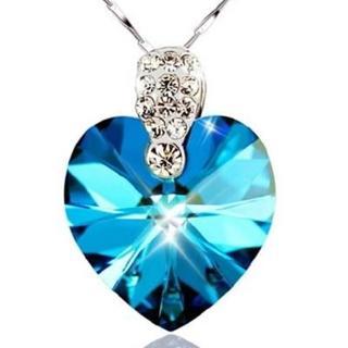 【米蘭精品】藍水晶項鍊流行銀飾品(海洋寶石華麗流行百搭母親節生日情人節禮物73v3)