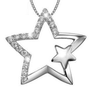【米蘭精品】鑲鑽項鍊流行銀飾品(星星情侶送禮必備母親節生日情人節禮物73v131)
