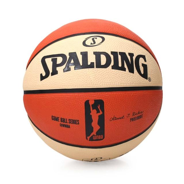 【SPALDING】WNBA 女子用球-戶外 NBA女子職籃 斯伯丁籃球 6號球(米白橘)