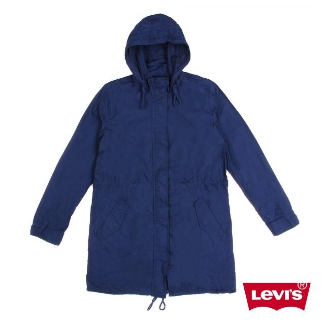 【Levis】女款風衣外套 / 軍裝時尚 / 抽繩帽沿下襬 / 隱形暗扣