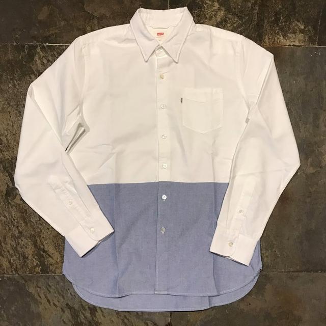【Levis】長袖襯衫 男裝 / 雙色拼接 / 單口袋