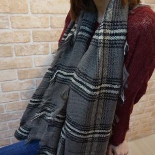 【Lus.G】英倫街頭細格紋混色圍巾(共4色)