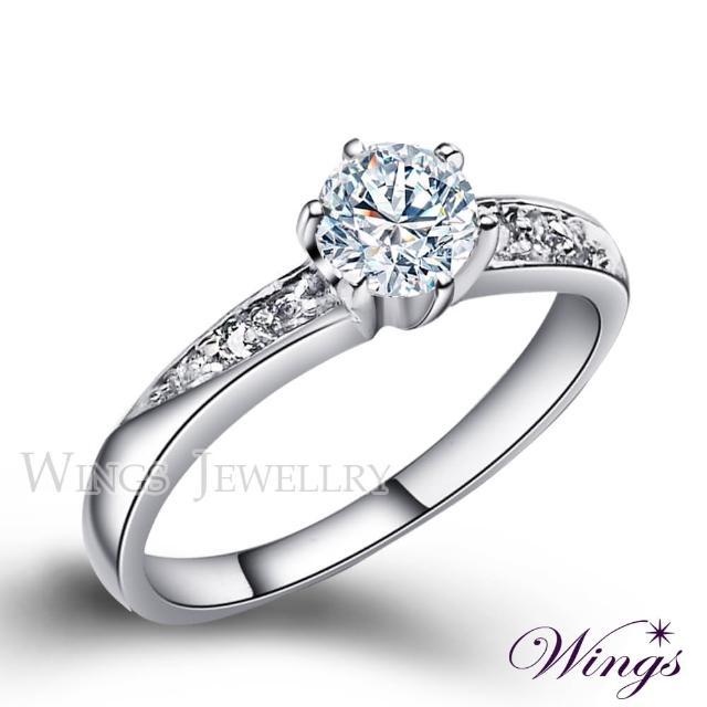 【WINGS】頂級八心八箭 雅緻時尚款 方晶鋯石美鑽戒指(女戒 鋯鑽 擬真鑽 單鑽)