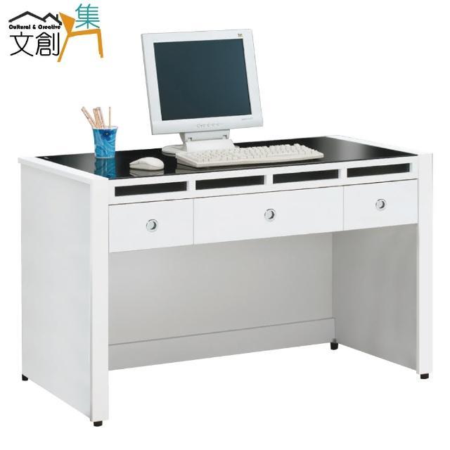 【文創集】米森  時尚白4.1尺玻璃書桌/電腦桌