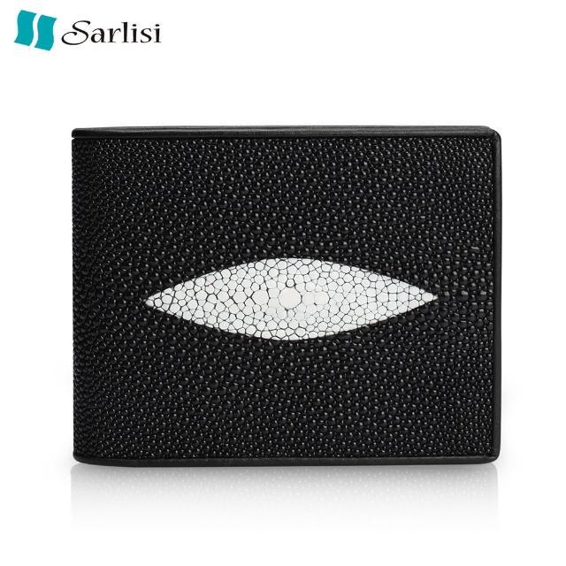 【Sarlisi】泰國珍珠魚皮稀有大顆粒真皮短夾(黑色)