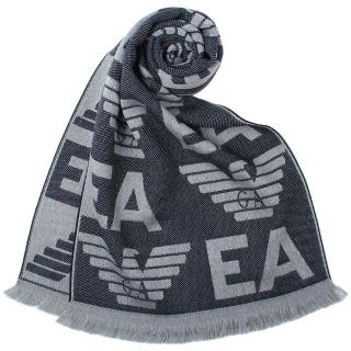 【EMPORIO ARMANI】滿版EA老鷹LOGO雙面羊毛流蘇圍巾(灰/灰藍)