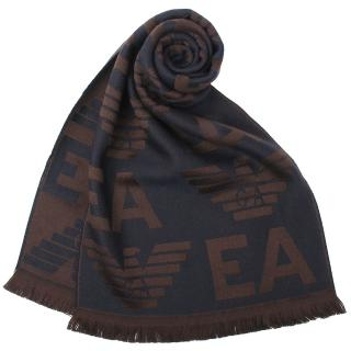【EMPORIO ARMANI】滿版EA老鷹LOGO雙面羊毛流蘇圍巾(深咖/深藍)