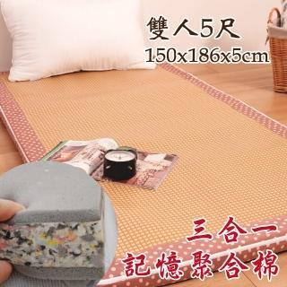 【Embrace英柏絲】水玉點點 純棉紙纖三明治記憶聚合床墊 全開拉鍊 學生 床墊(雙人5尺)