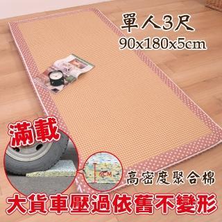 【Embrace英柏絲】水玉點點紙纖耐壓聚合床墊 全開式拉鍊 學生/員工宿舍 純棉表布-偏硬床(單人3尺)