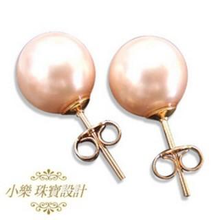 【小樂珠寶】純14K金南洋深海貝珍珠耳環(黃k台或白k台 隨機出貨喔)