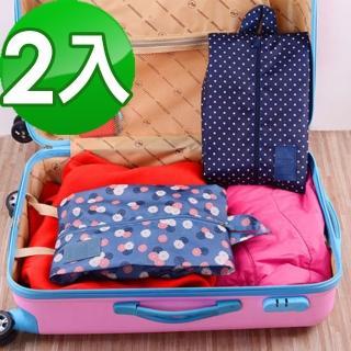 【JIDA】印花款防潑水鞋袋/旅行收納袋(2入組)