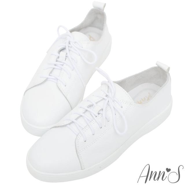 【Ann'S】第二代超軟真牛皮綁帶小白鞋(白)