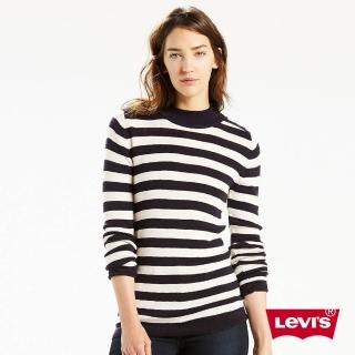 【Levis】中高領羊毛毛衣 / 條紋