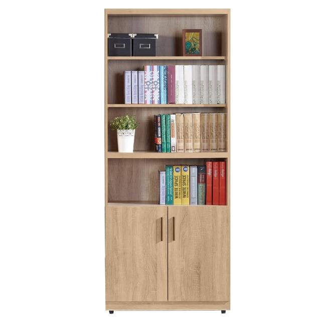 【AT HOME】高爾2.7尺橡木紋開放下木門書櫃