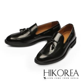 【HIKOREA韓國休閒鞋】正韓製/版型偏小。優質皮革流蘇編織尖頭皮鞋(73-253黑/現貨)