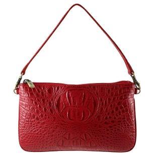 【Sika】義大利進口100%牛皮壓鱷魚紋方包(S8234-04紅色)