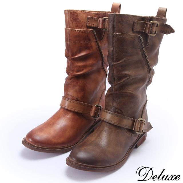 【Deluxe】全真皮牛仔风格擦色造型粗低跟长靴(驼)