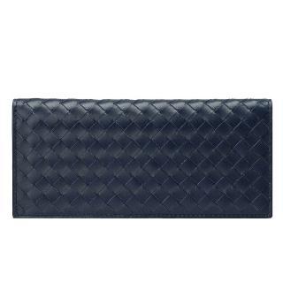 【BOTTEGA VENETA】經典編織小羊皮折疊手拿長夾(深藍黑色120697-4014)