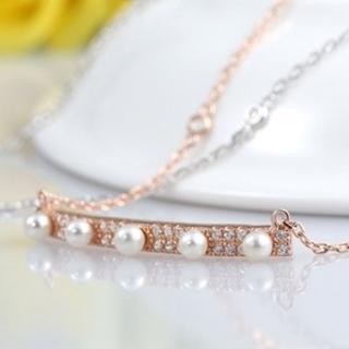 【米蘭精品】項鍊珍珠吊墜流行銀飾品(時尚一字五珠鑲鑽生日情人節禮物2色73w25)